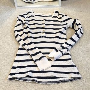 J. Crew Vintage Thermal Striped Cotton Henley - S
